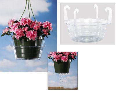 clear hanging basket drip pan