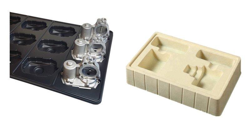 flocked tray vs dunnage tray