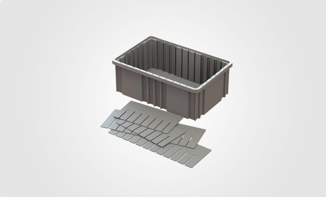 plastic industrial bin with dividers